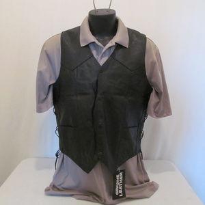 Other - Mens Genuine Goat Leather Motorcycle Vest  Black